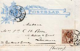 1903   Postblad G 6  Met  2 Randen Met Bijfrankering Van ASSEN  Naar Lausanne - Postal Stationery