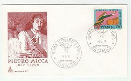 1977 ITALY FDC Pietro MICCA 17th Century Soldier Uniform Cover Gunpowder Army Stamps - 6. 1946-.. República