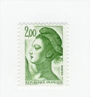 Liberté 2fr Vert Sans Phosphore YT 2484a . Rare ,  Voir Le Scan . Cote YT : 50 € , Maury N° 2488d : 55 € . - Variétés Et Curiosités
