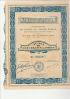 "MINES D'ALZON - GARD- ACTION DE 100 FRANCS  - 1929- ""MINES DE PLOMB"" - Bergbau"