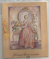 Carte Double Avec Nœud. Jeune Femme Arrange Un Bouquet. Reflet De Son Amoureux Dans Le Miroir. - Compleanni