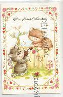 Vive Saint-Valentin. Couple De Chatons Amoureux. Aubade Au Violon, Cœurs Et Flèche, Notes De Musique, Barrière Et Fleurs - Saint-Valentin