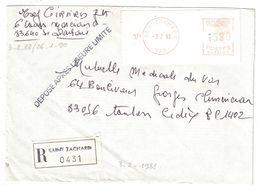"""1988 - GRIFFE """" DÉPOSÉ APRÈS L'HEURE LIMITE """" Sur LETTRE RECOMMANDÉE De ST ZACHARIE (VAR) Pour TOULON - Marcophilie (Lettres)"""