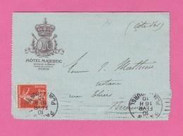 CARTE LETTRE HOTEL MAJESTIC AVENUE KLEBER PLACE DE L' ETOILE PARIS - TIMBRE SEMEUSE N° 138 DE 1910 - Documentos Antiguos