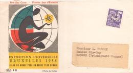 FRANCE ENVELOPPE 1° JOUR EXPOSITION UNIVERSELLE BRUXELLES POUR MONACO - Storia Postale