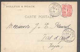 90 - Valdoie - Carte Postale Dollfuss & Noach  - Semeuse 10c Lignée  1905 - Valdoie