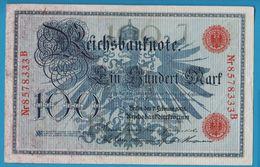 DEUTSCHES REICH 100 MARK 07.02.1908 SERIE 8578333B P# 33a - [ 2] 1871-1918 : Empire Allemand