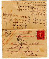 Carte Lettre Semeuse De Saint Marcel Marseille (13.06.1907) Pour Paris_Boite Mobile B - Postal Stamped Stationery