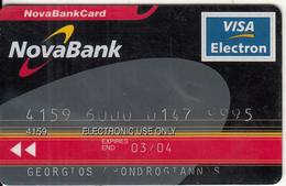 GREECE - Nova Bank(Schlumberger), Visa Electron, 06/00, Used - Geldkarten (Ablauf Min. 10 Jahre)
