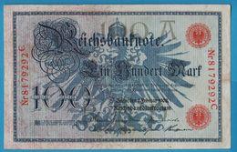 DEUTSCHES REICH 100 MARK 07.02.1908 SERIE 8179292C P# 33a - [ 2] 1871-1918 : German Empire