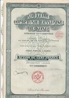 ACTION DE 100 FRS - NOUVELLE COMPAGNIE FRANCAISE DE KONG (PLANTATIONS DE CAFE) -annee 1929 - Afrique