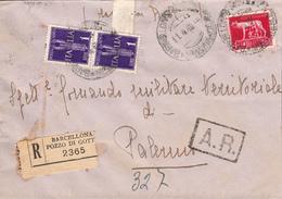 Serie Pegaso Posta Aerea Lire 1 , Barcellona Pozzo Di Gotto Per Palermo, 11.4.45 - 1900-44 Vittorio Emanuele III