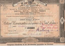 ACTION NOMINATIVE DE CENT FRANCS - SOCIETE LYONNAISE DES EAUX MINERALES -DR LEON JACQUET 1905 - Eau