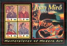 2003 Turks & Caicos Joan Mirò Pittori Paintings Peintures Block MNH** Ye60 - Turks E Caicos