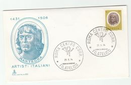 1974 ITALY FDC MANTEGNA Art  Stamps Cover - Art
