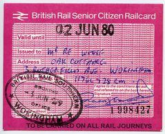 BRITISH RAIL SENIOR CITIZEN RAILCARD 1979-80 - Season Ticket