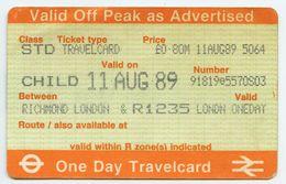 BRITISH RAIL ONE DAY TRAVELCARD : RICHMOND, LONDON (CHILD) 1989 - Railway