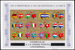 Honduras, 1975, UPU Centenary, Universal Postal Union, Flags, United Nations, MNH, Michel Block 25 - Honduras