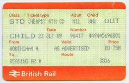 BRITISH RAIL CHEAPDAY RETURN TICKET : WOKINGHAM - READING (CHILD) 1989 - Railway