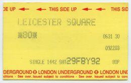 LONDON UNDERGROUND - SINGLE TICKET : LEICESTER SQUARE, 1992 - Subway