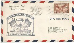 CANADA FIRST FLIGHT 1935 VANCOUVER SEATLE BANDERA FLAG CASTOR BEAVER AVE BIRD AGUILA EAGLE - Sobres