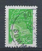 France / 2002/ N° 3450  Marianne De Luquet 0.53€ Vert-jaune - Usados