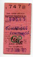 BRITISH RAIL : 2ND CLASS, CHEAP OFF PEAK RETURN TICKET : WOKINGHAM - TONBRIDGE, 1982 - Railway