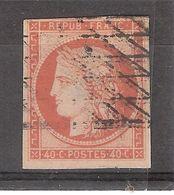 CERES Non Dentelé N° 5 A, 40 C Orange Vif Obl GRILLE SANS FIN , B/TB, 4 Marges, Cote 575 Euros - 1849-1850 Ceres