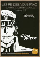 Carte Pub : Les Rendez-vous FNAC - Illustration : Corto Maltese - Publicité