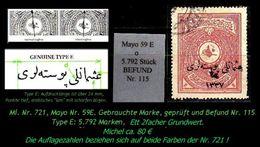 TURKEY , EARLY OTTOMAN SPECIALIZED FOR SPECIALIST, SEE...Mi. Nr. 721 Karmin - Mayo 59 E Tt - 1920-21 Anatolie