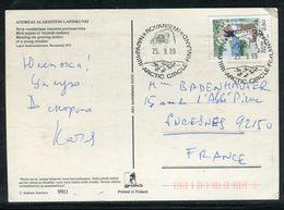 """Oblitération Polaire  """" Artic Circle Rovaniemi"""" En 1989 Sur Carte Postale Pour La France  - Ref J33 - Cartas"""