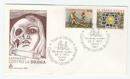 1977 ITALY FDC Anti DRUG ADDICTION, DRUGS , POPPY FLOWER  Cover SYRINGE Health Medicine Stamps - Drugs