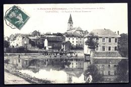 CPA ANCIENNE FRANCE- CAMPAGNAC (12)- LA SAGNE ET LA MAISON COMMUNE- L'ABREVOIR AVEC BELLE ANIMATION - France