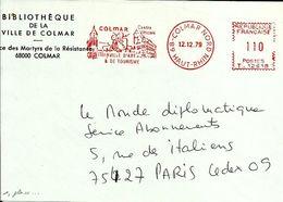 Lettre  EMA Havas T Ville D'art Monument Clocher  68 Colmar B/1391 - Affrancature Meccaniche Rosse (EMA)