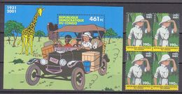 Congo D.R. 2001 Tintin/Kuifje 1v Bl Of 4 + M/s ** Mnh (37377) - Ongebruikt