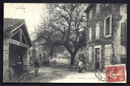 CPA ANCIENNE FRANCE- ALBINE (81)- AVENUE DE SAINT-AMANS- LE LAVOIR- BELLE ANIMATION GROS PLAN- LE GROS CHENE EN HIVER - Francia