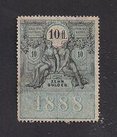 1 Austria Revenue 10 Fl. 1888 Mit WASSERZEICHEN Liegend - Steuermarken