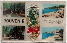 SOUVENIR CAMPING C.C.O.S.CAP MARTIN (plusieurs Vues - Fleurs En Sachet) - Roquebrune-Cap-Martin