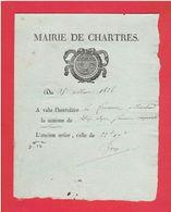 MAIRIE DE CHARTRES EURE ET LOIR 25 MARS 1826 PRIX DU FROMENT A L HECTOLITRE ET A L ANCIEN SETIER - Frankreich