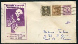Etats Unis - Enveloppe Souvenir Anniversaire De George Washington En 1932 Pour La France - Ref J 72 - Schmuck-FDC