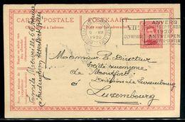 """Belgique - Entier Postal De Bruxelles Pour Luxembourg En 1920 , Oblitération """" VII ème Olympiade """" - Ref J 74 - Cartoline [1909-34]"""