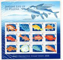 ST.HELENA, 2008, FISH, Definitive, S/S(12v.) MNH** - Fishes