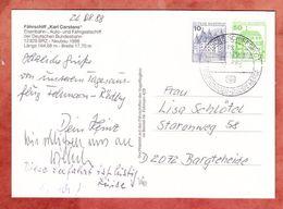 Schiffspost, AK, MiF Burgen + Schloesser, Faehrschiff Karl Carstens, Puttgarden-Roedby, Nach Bargteheide 1988 (45734) - Schiffe