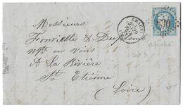 LETTRE Avec N°60/1; 30 B2 ; 1er état  1 Er  état  ; TTB - 1871-1875 Cérès