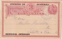 "GUATEMALA :  ENTIER (H&G Nr. 12a (vraaggedeelte) Met Opdruk Bovenaan ""CORREOS DE GUATEMALA""; - Guatemala"