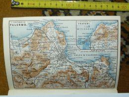 Palermo Trapani Termini Bagheria Carini Capaci Capo Di Gallo  Italy Italia Map Karte Mappa 1887 - Carte Geographique
