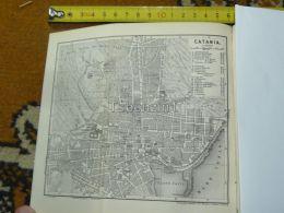 Catania Italy Italia Map Karte Mappa 1887 - Carte Geographique