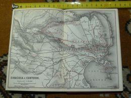 Siracusa Belvedere Italy Italia Map Karte Mappa 1887 - Carte Geographique