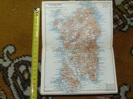 Sardegna Sardecna Cagliari Italy Italia Map Karte Mappa 1887 - Carte Geographique