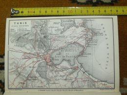 Tunis Tunisia Cartaghe Map Karte Mappa 1887 - Mapas Geográficas